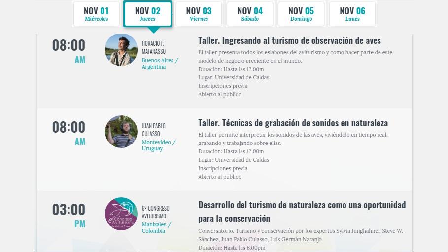 Participa de los talleres y del conversatorio GRATUITO del 6º Congreso Aviturismo