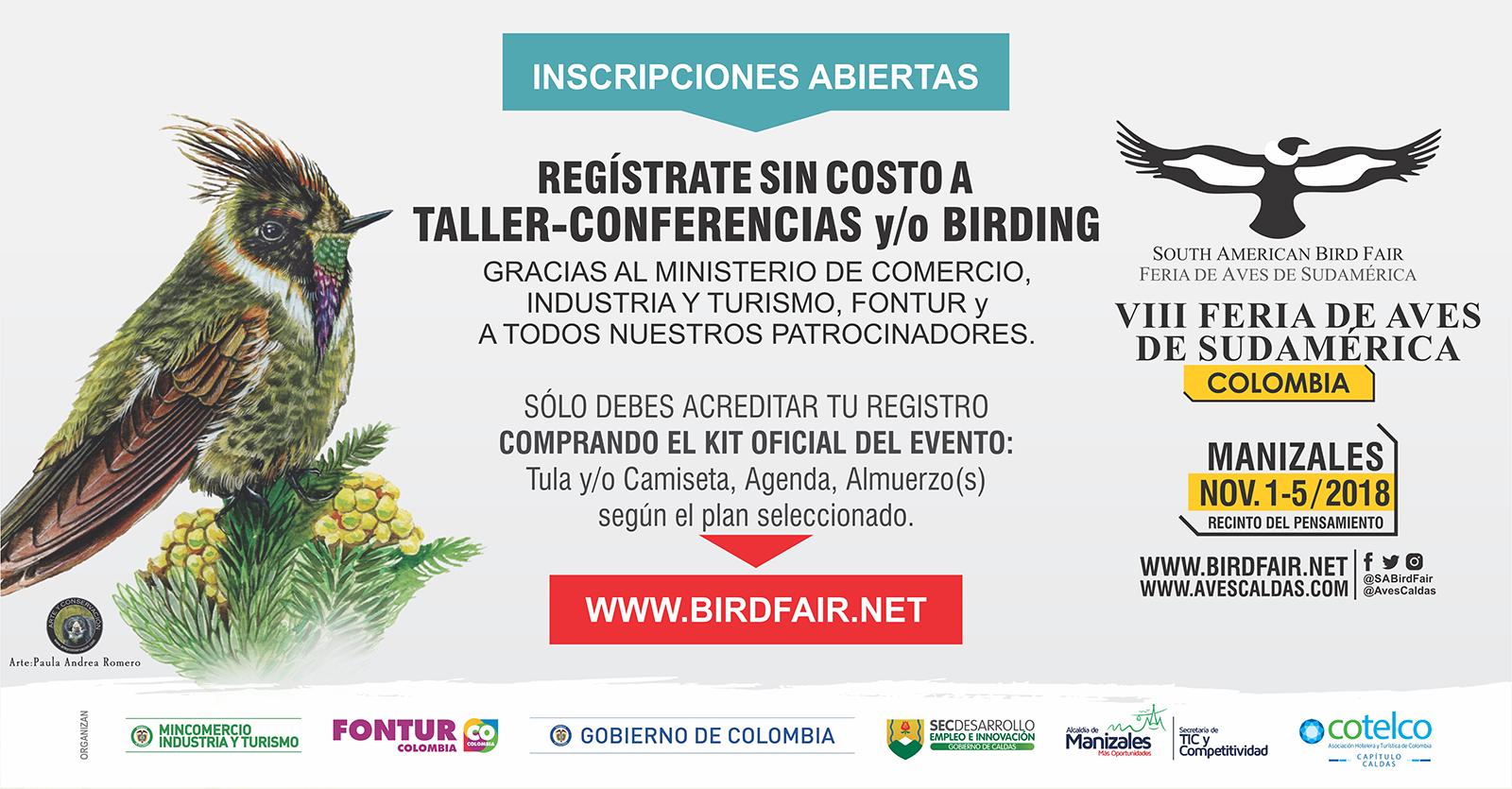 Inscripciones Abiertas VIII Feria de Aves de Sudamérica Colombia