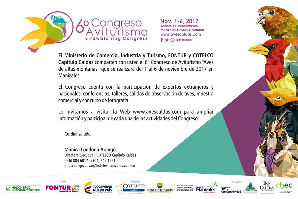 Invitación a participar del 6º Congreso de Aviturismo Caldas Manizales